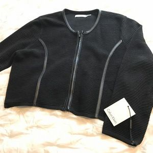 NEW Calvin Klein Shrug Leather Piping